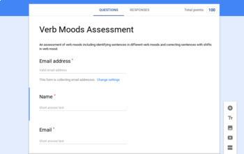 Verb Moods Assessment - Google Forms