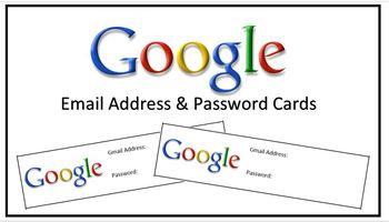 Google Gmail & Password Cards