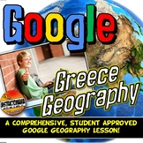 Google Classroom Greece Physical Geography Lesson & Map Activity with Quiz!