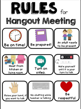 Google Hangout and Zoom Meeting Rules for Elementary Students | TpT