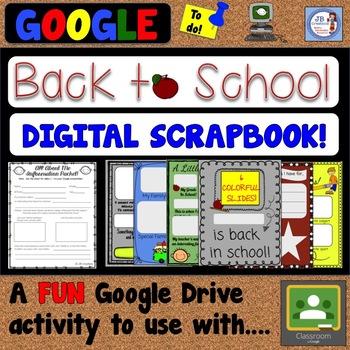 Back To School Digital Scrapbook For Google Classroom Editable