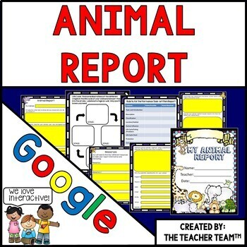Google Drive Animal Report Interactive Notebook for Google Classroom