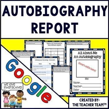 Autobiography Report Interactive Notebook Google Drive Activities