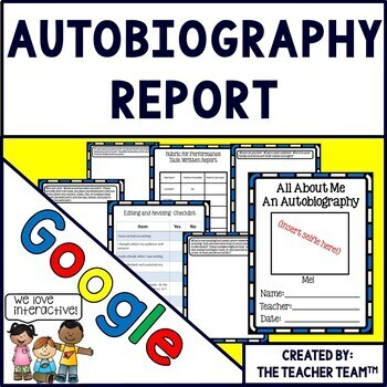 Autobiography Report Interactive Notebook Google Drive Activities