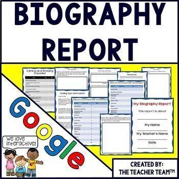 Biography Report Interactive Notebook Google Drive Activities