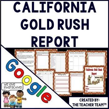 California Gold Rush  Report Interactive Notebook Google Drive Activities