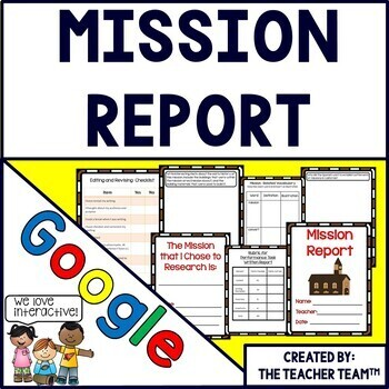 Google Drive California Mission Report Interactive Notebook for Google Classroom