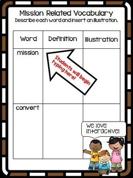 California Mission Report Interactive Notebook Google Drive Activities