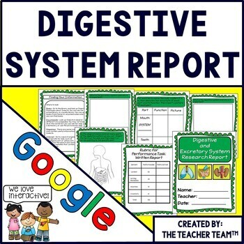 Digestive and Excretory System Interactive Notebook Google Drive Activities