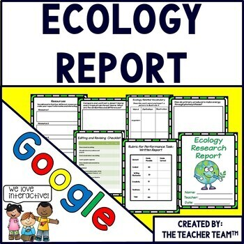 Google Drive Ecology Report Interactive Notebook  for Google Classroom