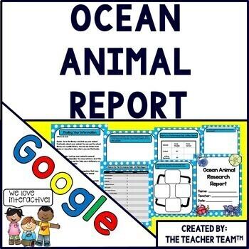 Google Drive Ocean Animal Report for Google Classroom