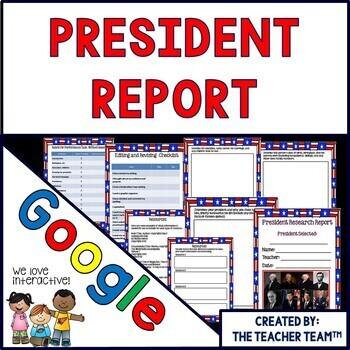 President Report Interactive Notebook Google Drive Activities