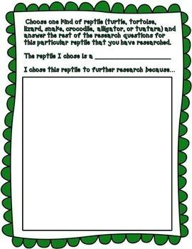 Reptiles | Reptile Research Report | Google Classroom Activities