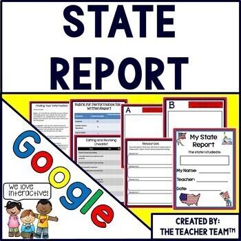 State Report Interactive Notebook Google Drive Activities