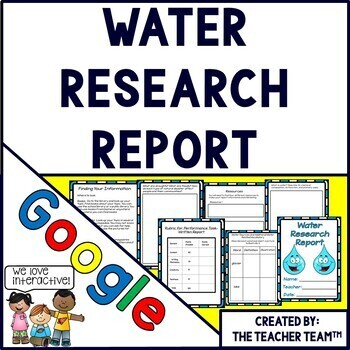 Google Drive Water Report Interactive Notebook for Google Classroom