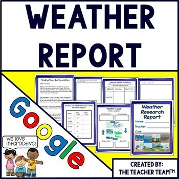 Google Drive Weather Report Interactive Notebook for Google Classroom