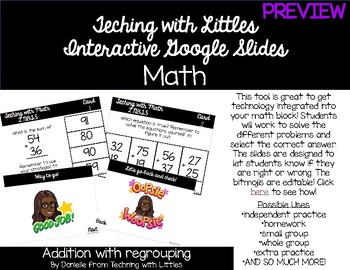 Interactive Google Slides-2 digit addition w/regrouping PREVIEW