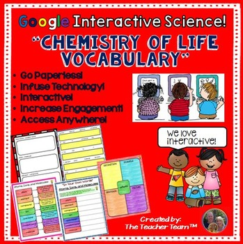 Google Drive Biology - Chemistry of Life Vocabulary for Google Classroom