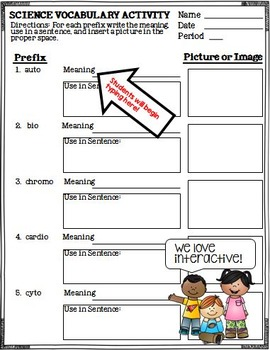 Science Root Word Vocabulary Biology Google Drive Activities