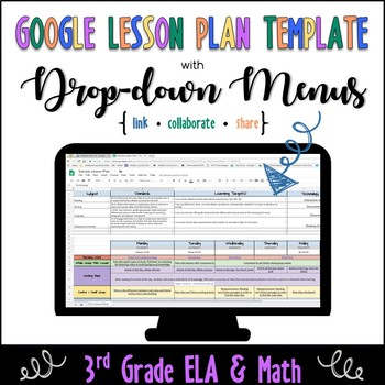 Google Lesson Plan Template With Drop Down Menus 3rd Grade Ela And