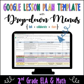 Google Lesson Plan Template with Drop-down Menus {Common Core 2nd ELA and Math}