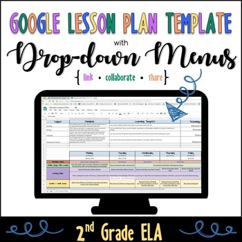Google Lesson Plan Template with Drop-down Menus {Common Core 2nd Grade ELA}