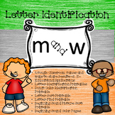 Google Letter Identification Games - Reversal of m and w with Printables