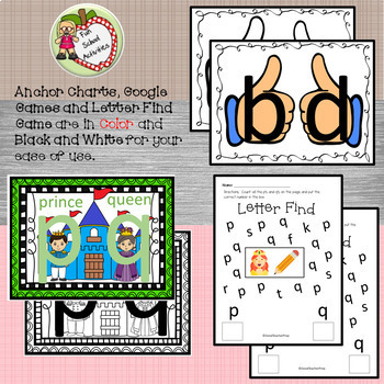 Google Letter Identification Games - Reversal p and q with printables