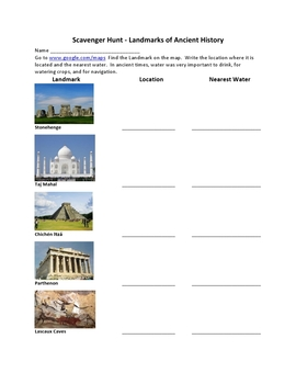 Google Maps Scavenger Hunt Ancient History Landmarks of the World