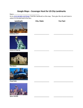 Google Maps Scavenger Hunt Famous City Landmarks of the United States