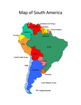 Google Maps – The Countries of South America by CC Fisher | TpT