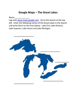 Google Maps of The Great Lakes, Major Rivers and Borders of the United States
