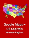 Google Maps with US Capitals of the Midwest and Western Regions