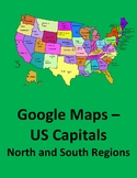 Google Maps with US Capitals of the Northeast and Southern Regions