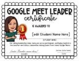 Google Meet Leader Certificate [EDITABLE]