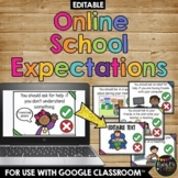 Google Meet or Zoom Call Expectations Distance Learning EDITABLE Google Slides™