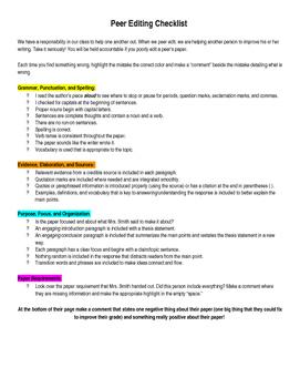 Google Peer Editing (consistent with testing rubrics)