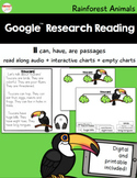 Google™ Research Reading Rainforest Animals Printable and Digital