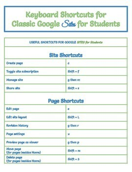 Google SITES Useful Shortcut Keys for Tech Students (Classic Google Sites)