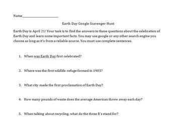 Google Scavenger Hunt- Earth Day