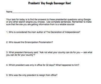 Google Scavenger Hunt- Presidents' Day