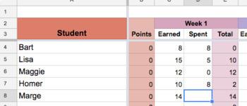Google Sheet for Tracking Student Behavior Points