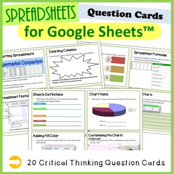 12 Question Cards (Critical Thinking Skills) for Google Sheets™