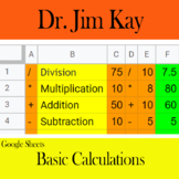 Google Sheets: Basic Calculations Divide, Multiply, Add, Subtract