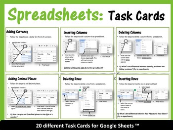 Google Sheets Bundle with I Can Statements & Task Cards– Save $9