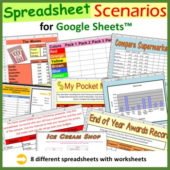Spreadsheet Activities, I Can Statements, Task Cards for Google Sheets™ -Save $9