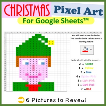 Christmas Mystery Pictures Fill Color 2 Activities Google Sheets™