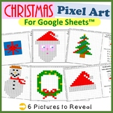 Christmas Mystery Pictures Fill Color Activity for Google Sheets™ (Pixel Art)