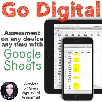 Google Sheets Digital 1st Grade Sight Word Assessment (Wonders)