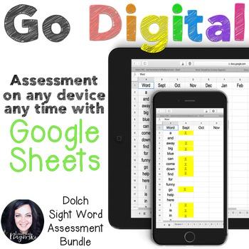 Google Sheets Digital Dolch Sight Word Assessment Growing Bundle